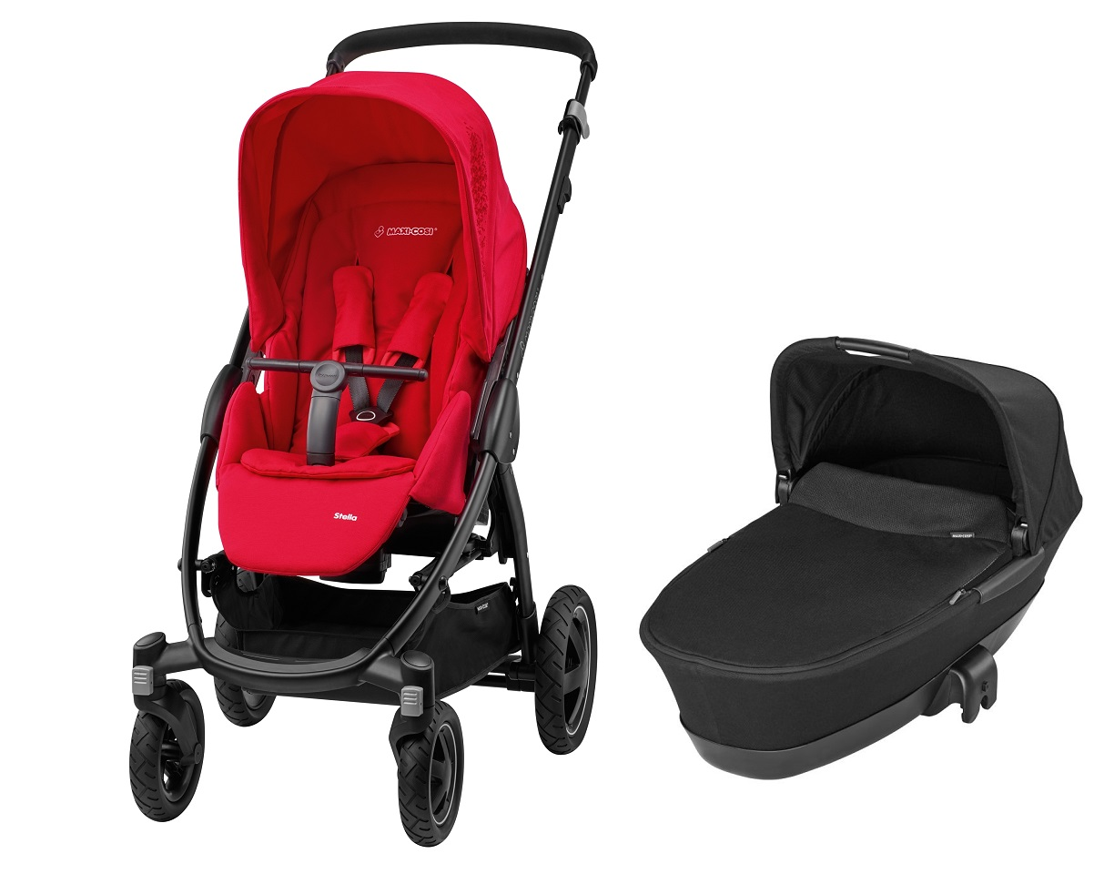maxi cosi stella including carrycot dreami 2016 origami red buy at kidsroom strollers. Black Bedroom Furniture Sets. Home Design Ideas