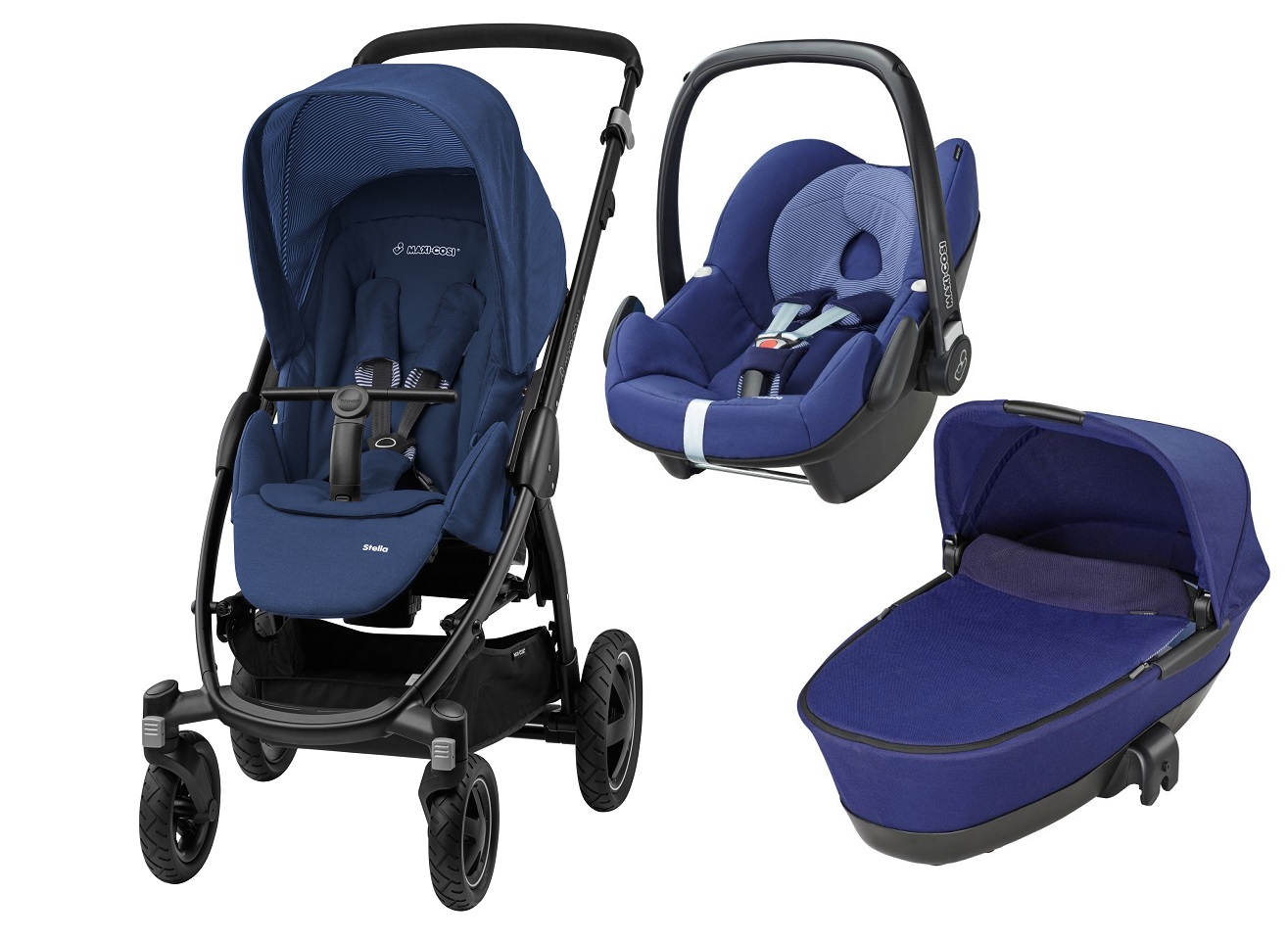 maxi cosi stella incl carrycot and infant car seat pebble 2016 river blue buy at kidsroom. Black Bedroom Furniture Sets. Home Design Ideas