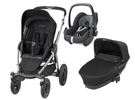 Maxi-Cosi Mura Plus incl. carrycot attachment + infant carrier Pebble Black Crystal 2016 - large image