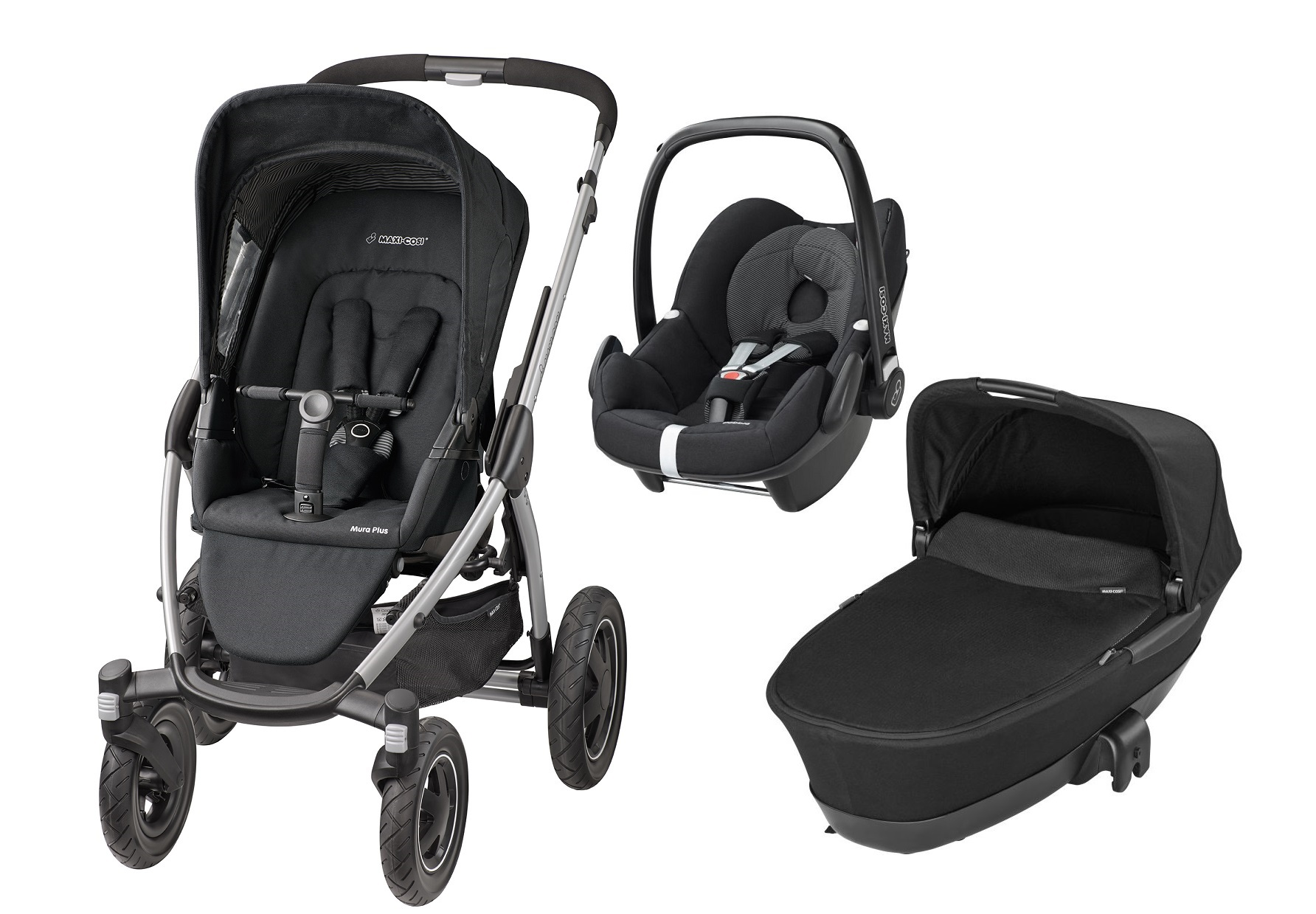 Maxi-Cosi Mura plus incl. nacelle + porte-bébé Pebble 2016 Black
