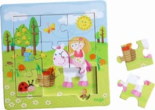 "Haba Framed Wooden Puzzle ""Fairy Garden"" - * Haba framed wooden puzzle ""Fairy Garden"" – nine handy puzzle pieces for double fun."