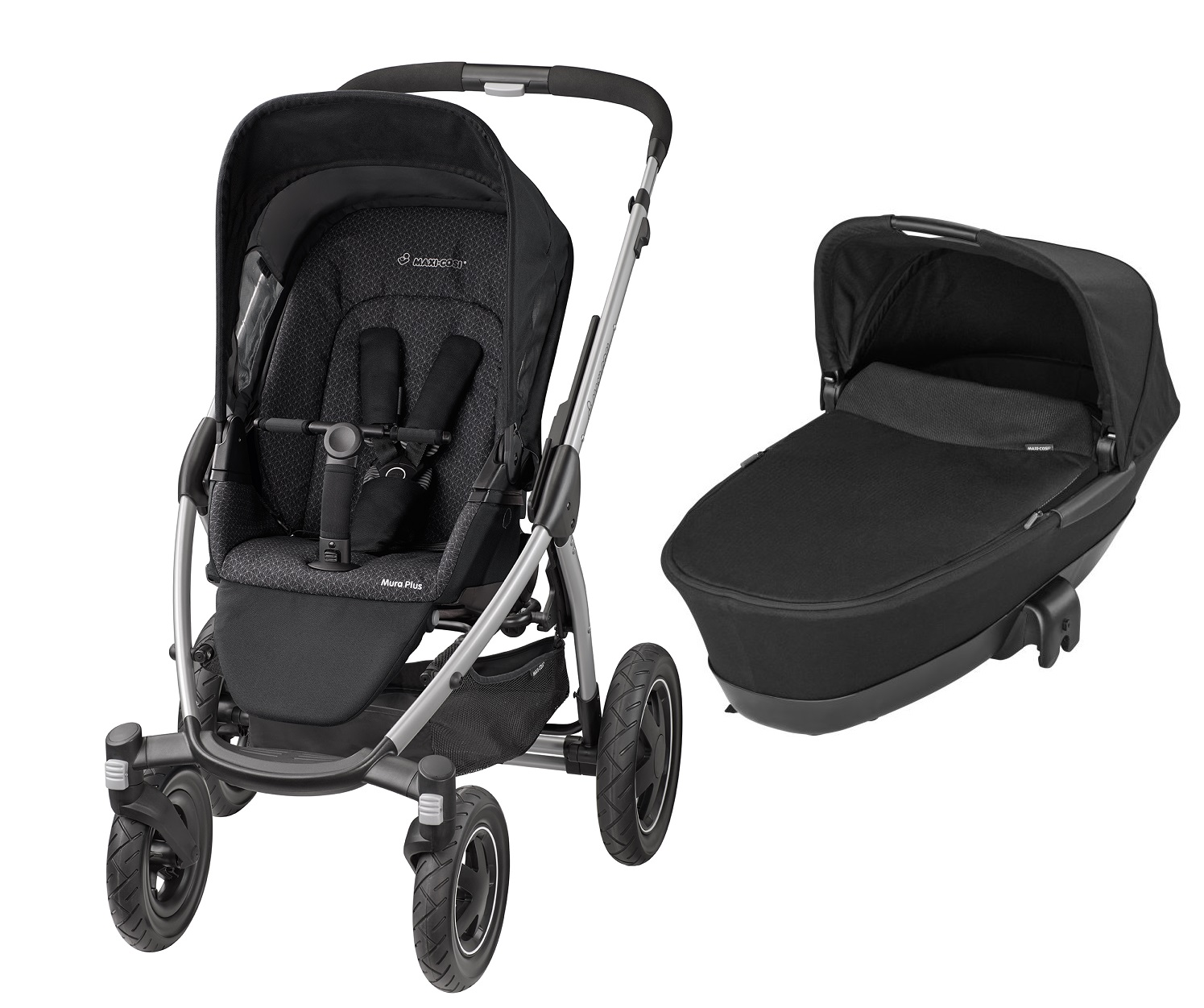 maxi cosi mura plus 4 incl dreamin carrycot attachment 2016 black crystal buy at kidsroom. Black Bedroom Furniture Sets. Home Design Ideas