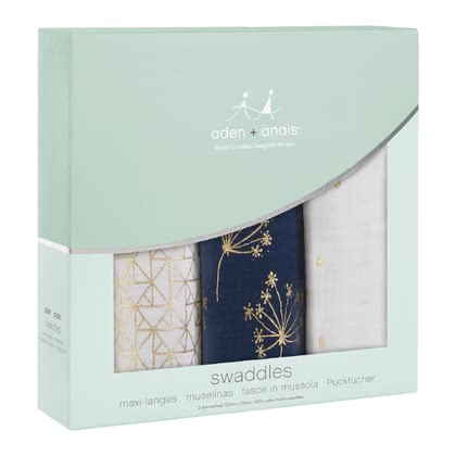 aden+anais Classic Metallic Swaddles, Pack of 3 - * The aden+anais Classic Swaddles in a Metallic look is made of natural muslin.