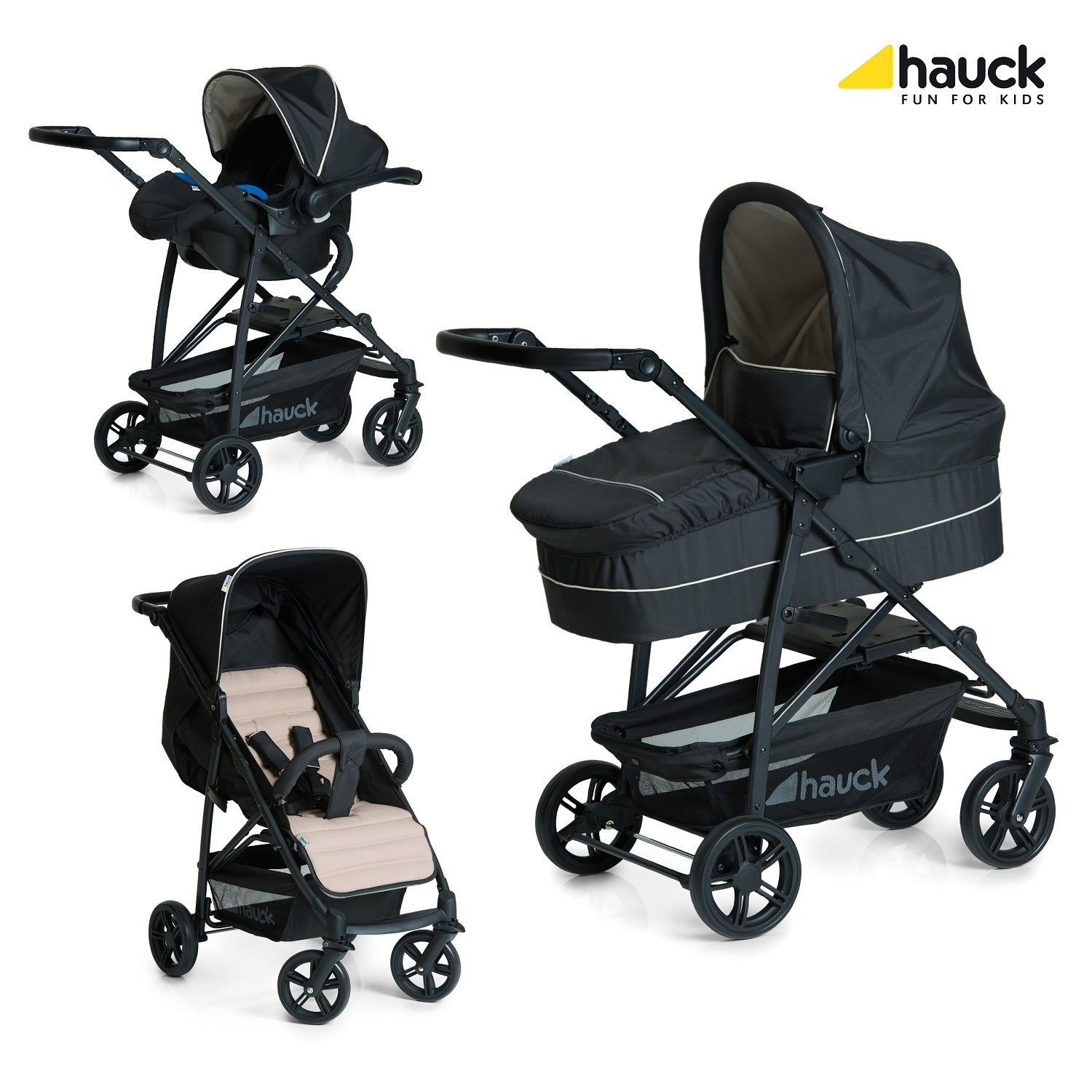 hauck rapid stroller 4 plus trio set 2017 caviar beige. Black Bedroom Furniture Sets. Home Design Ideas