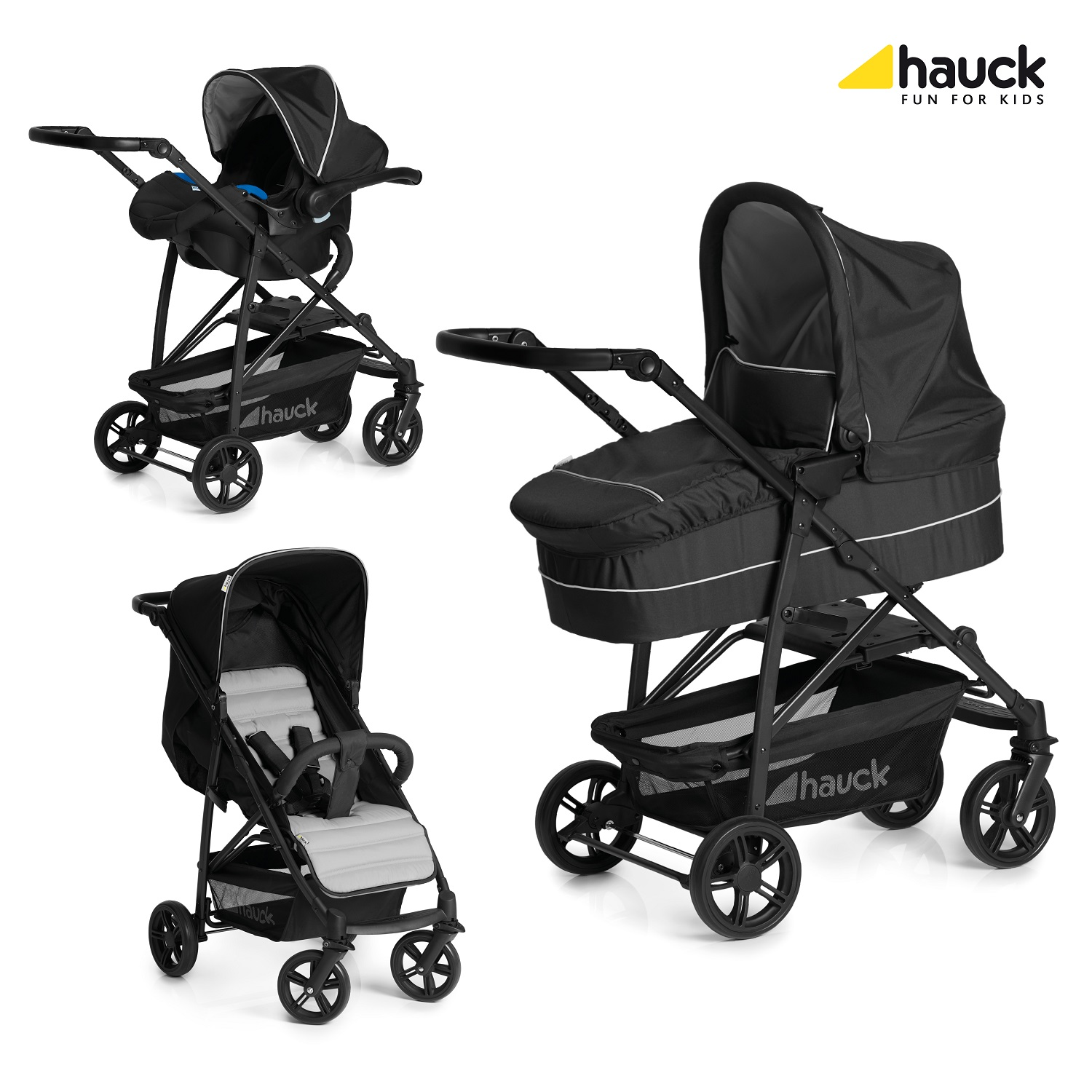 Caviar//Silver Hauck Rapid 4 Stroller One Hand Folding Baby Pushchair ON SALE!