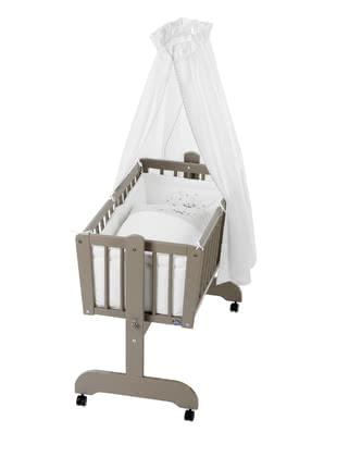 "Alvi Complete Set for Cradle ""Sina"", Taupe - Design ""Counting Sheep"" -  * With the classic Alvi Complete Set for Cradle ""Sina"" in the colour taupe with the cute design ""Counting Sheep"" you can create the perfect place for your little one to sleep and relax."