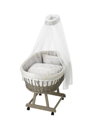 "Alvi Complete Set Bassinet ""Birthe"", Taupe – ""Stripes & Bears"" -  * The bassinet ""Birthe"" by Alvi fits perfectly in every nursery and transforms your child's first sleeping place into a particularly cosy and romantic spot."