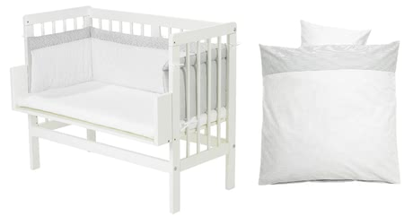 Alvi Bedside Cot – Complete Set (5 pieces), Little dots -  * This Alvi set contains a co-sleeping bed, a mattress, bed linen, cot bumper and fitted sheet and thus, provides your little one with everything they need for a pleasant and restful sleep.