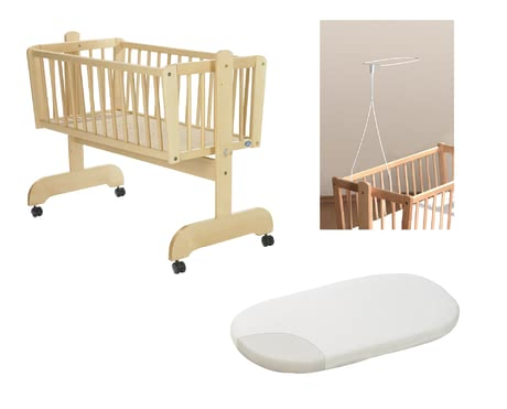 "Alvi Set – Cradle ""Sina"", natural-coloured, including Fleece Mattress and Canopy Rod 2018 - large image"