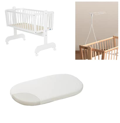 "Alvi Set – Cralde ""Sina"", White, including Fleece Mattress and Canopy Rod -  * Our great Alvi Set for cradles provides you with everything you need to make your little one sleep heavenly."