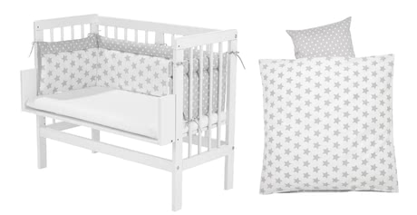 Alvi Bedside Cot – Complete Set (5 pieces), Silver Stars -  * A bedside cot, a mattress, a cot bumper and a fitted sheet - everything you need to make your little one sleep heavenly comes with this amazing set by Alvi.