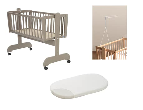 "Alvi Set – Cradle ""Sina"", Taupe, including Fleece Mattress and Canopy Rod -  * Our great Alvi Set for cradles provides you with everything you need to make your little one sleep heavenly."