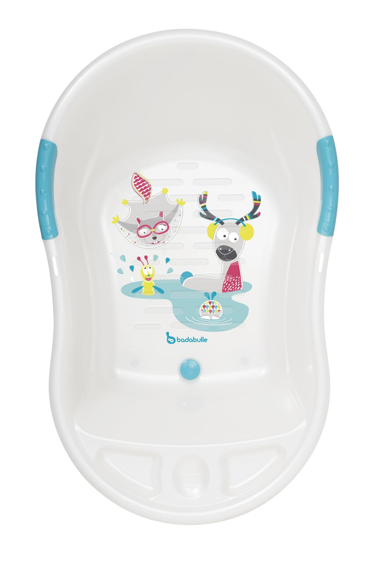 badabulle baby bath tub mountain animals white buy at kidsroom baby care. Black Bedroom Furniture Sets. Home Design Ideas