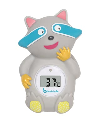 "Badabulle Bath Thermometer ""Racoon"" -  * Badabulle's bath thermometer ""Racoon"" is a funny little fellow for your child that reads and shows the right water temperature in an accurate and safe way."