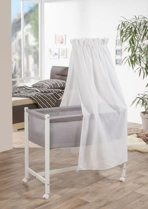 "Geuther Bassinet Jasmin, White & White Canopy -  * Geuther's bassinet ""Jasmin"" comes with a new, extraordinary design that will instantly delight you and your little one."