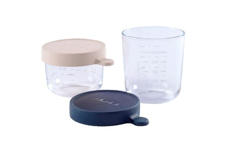 Béaba Glass Containers Set, 2 pieces pink_dark blue - large image