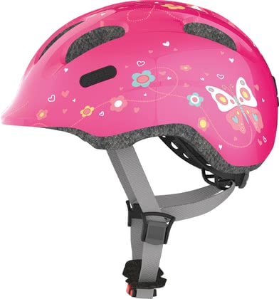 Abus Child's Bicycle Helmet Smiley 2.0 Pink Butterfly -  * The fully revised version Smiley 2.0 by Abus supplies your child with maximum protection. Its innovative and child-oriented design will delight every child instantly. Particularly little girls will fall in love with the bright colours and prints of the Smiley 2.0 Pink Butterfly.