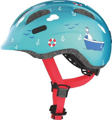 Abus Child's Bicycle Helmet Smiley 2.0 Turquoise Sailor -  * The fully revised version Smiley 2.0 by Abus supplies your child with maximum protection. Its innovative and child-oriented design will delight every child instantly. Particularly little boys will fall in love with the bright colours and sailor print of the Smiley 2.0 Turquoise Sailor.
