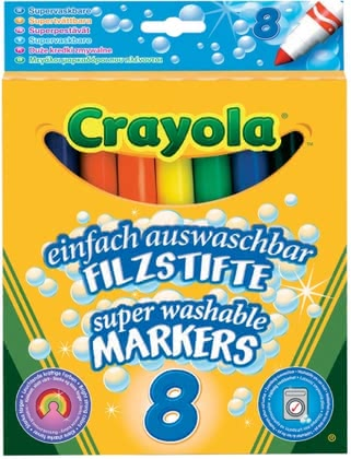 Crayola Washable Markers -  * No matter if your child is painting, drawing or writing – with Crayola's markers your little artist can let his imagination run free. Eight vivid colours leave nothing to be desired.