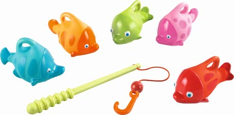 "Haba Fishing Set ""Splish-Splash Fish"" -  * Five colourful sea dwellers splash about in the water of your bathtub and swim happily on the surface. Your little fisherman will love to catch the cute little fish with the help of the fishing rod and line included in the set."