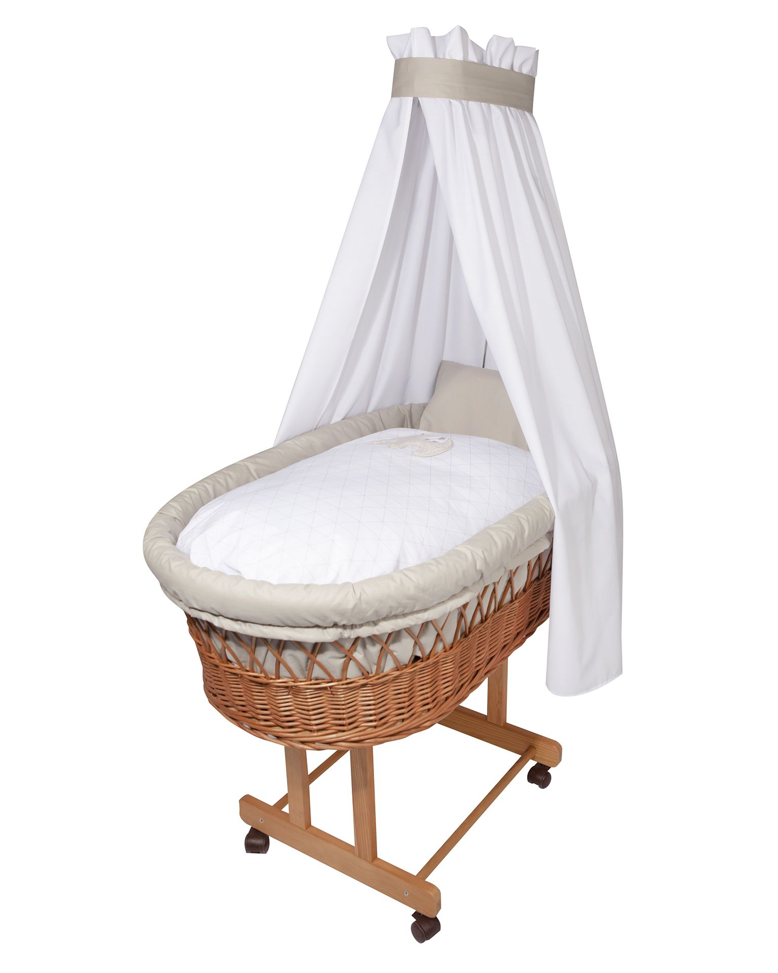 Zollner Bassinet Bedding Set With Applique Jumbo Taupe Buy At Kidsroom At Home Baby Cot Accessories Baby Cot Sets Beddings