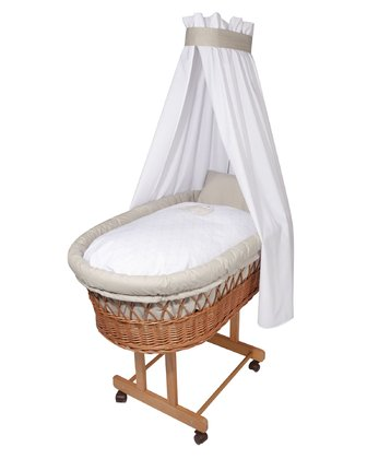 Zöllner Bassinet Bedding Set with Appliqué Jumbo Taupe - large image
