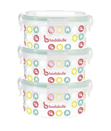 Badabulle Container Kit 3 x 330 ml -  * What's for dinner today? Badabulle's container kit is perfect for storing and transporting homemade meals for your little one. The containers are also suitable for storing meals in the fridge or freezer and for heating up food.