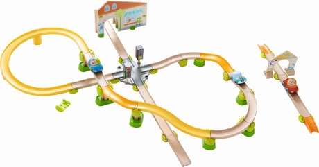 "Haba Kullerbü – Play Track ""City Stroll"" -  * Haba's Kullerbü play track ""City Stroll"" brings versatile playing fun into your child's nursery. Three cars as well as colourful balls race down the tracks."
