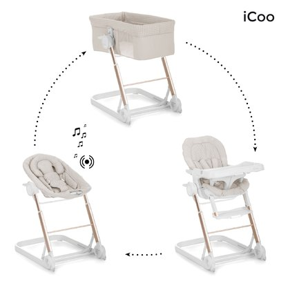 iCoo Grow with Me 1-2-3 -  * With iCoo's Grow with Me 1-2-3 you are fully equipped at all times. Three different attachments turn the trendy frame into a cosy sleeping place, a comfortable bouncer or else into a practical highchair.