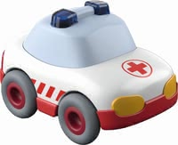 Haba Kullerbü Ambulance -  * This cute little ambulance runs down any ball track with high speed. Due to the momentum motor a gentle push is enough to make the ambulance race to the next deployment site.