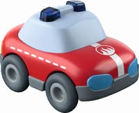 Haba Kullerbü Fire Truck -  * This cute little fire truck runs down any ball track with high speed. Due to the momentum motor a gentle push is enough to make the fire truck race to the next deployment site.