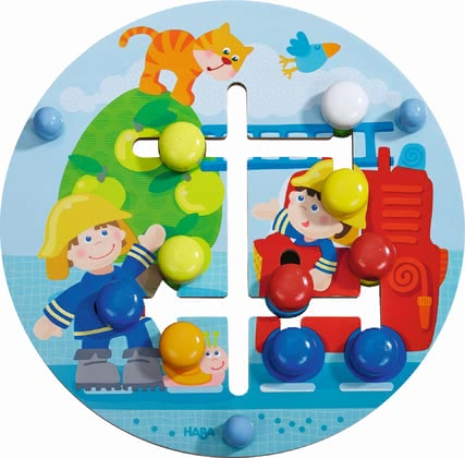 "Haba Motor Skills Board Fire Department World -  * This adorable motor skills board ""Fire Department World"" which is printed on both sides imparts the knowledge of colours and geometric figures."