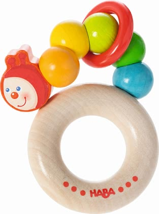 Haba Clutching Toy Rainbow Caterpillar -  * Haba's clutching toy Rainbow Caterpillar clatters happily at every movement.