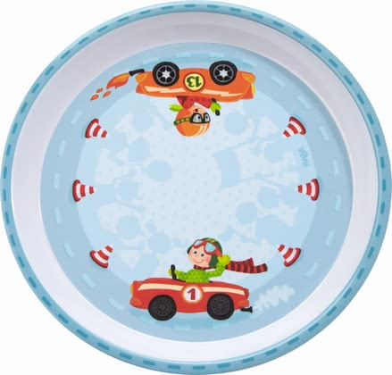 Haba Zippy Cars Plate -  * This adorable plate by Haba features zippy cars that race cheerfully around red/white striped traffic cones and encourage your little one to eat by himself.