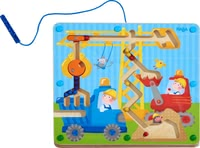 Haba Magnetic Game On the Construction Site -  * There is always something exciting going on out there on the construction site. A little patience and skill are needed for your child to transfer the ball from the digger over the crane and into the truck.