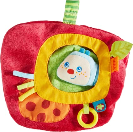 Haba Caterpillar Mina Cuddly Cushion -  * What a fun toy! Cheerful caterpillar Mina hides in this cute apple-shaped cushion. The integrated caterpillar finger puppet can be brought to life by mom or dad and will instantly make your little one's heart melt.