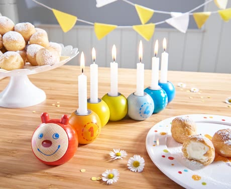 "Haba Birthday Caterpillar ""Mina"" -  * The multi-coloured birthday caterpillar Mina grows with every birthday of your child by one more candle. Mina comes in the most adorable design and will add a unique and amazing birthday ritual to every year."