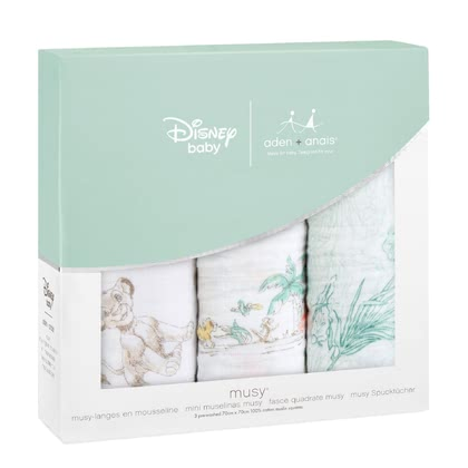 aden+anais Disney Musy Muslin Burp Cloths, 3-pack The Lion King - large image