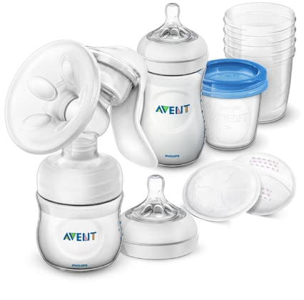 AVENT Philips Natural Breastfeeding Set with Manual Breast Pump -  * For a good start to a new stage of life – the Philips Avent Natural breastfeeding set with manual breast pump is the perfect support kit for all moms who wish to start expressing breast milk.