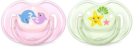 AVENT Philips Classic Soother Sea 0-6 Months - * The orthodontic soothers from the Philips Avent Trend range contribute to a natural and healthy development of your baby's palate, teeth and gums – even if the soother happens to be upside down in your little one's mouth.