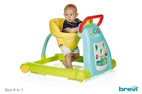 Brevi Activity Centre Boo 4 in 1 -  * The Boo 4 in 1is a colourful baby walker, activity centre, push walker and ride-on toy in one and is suitable for children at the age of 6 months and up. Due to its long-term use as well as its versatility the Boo 4 in 1 will accompany your child up to toddler age.