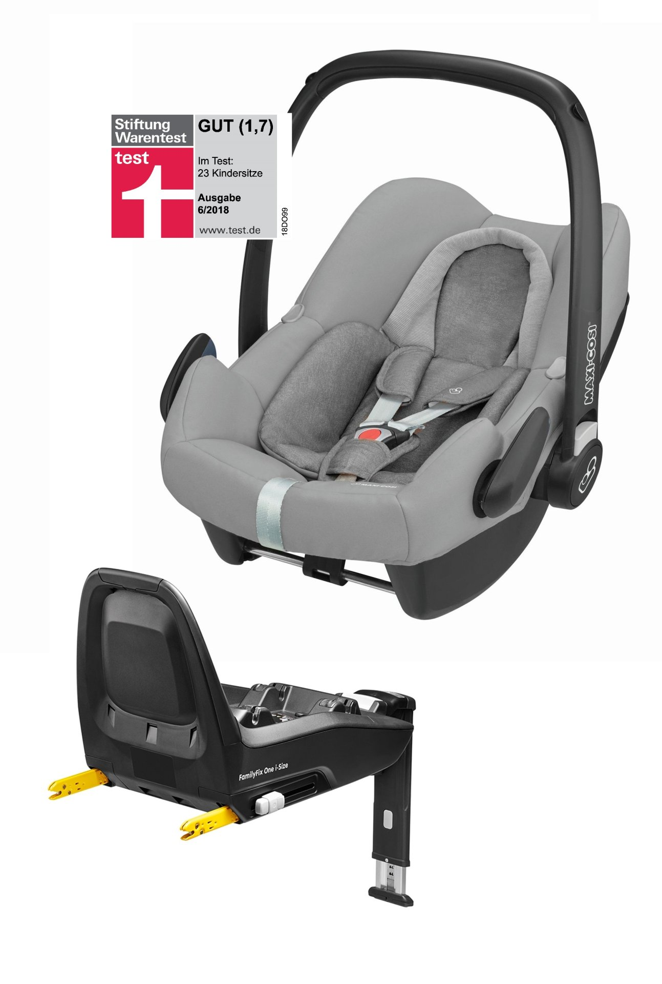 maxi cosi infant car seat rock including familyfix one i size 2018 nomad grey buy at kidsroom. Black Bedroom Furniture Sets. Home Design Ideas