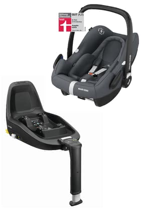 Maxi-Cosi Infant Car Seat Rock including FamilyFix One i-Size -  * The infant car seat Rock is Maxi-Cosi's second i-Size infant car seat on the market. The Rock conforms to the latest safety standards and is suitable for your little passenger with a body height of 45 cm to 75 cm. This convenient set also includes the matching base FamilyFix One i-Size.