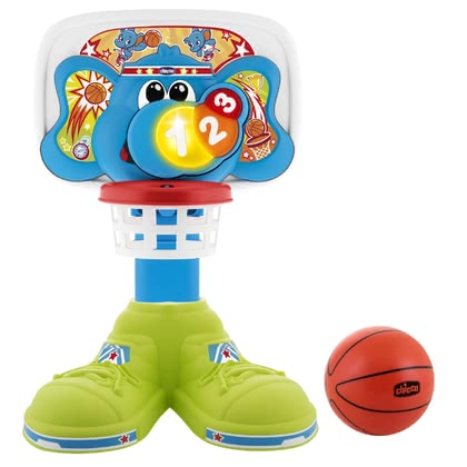 "Chicco Basketball Hoop ""Fit & Fun"" Basket League -  * The popular game has been re-implemented for little basketball players! The funny elephant rewards every goal with colourful lights, singings and extra cheers!"
