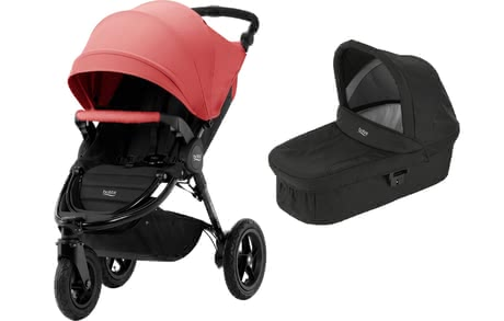 Britax Pushchair B-Motion 3 Plus including Canopy Pack and Hard Carrycot Coral Peach 2019 - large image