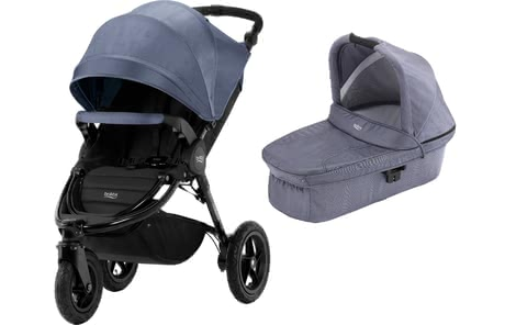 Britax Pushchair B-Motion 3 Plus including Canopy Pack and Hard Carrycot Blue Denim 2019 - large image