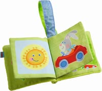 Haba Mini Buggy Book -  * Feeling, listening, seeing – the soft mini buggy book with a cute bunny or bear motif stimulates the senses of your little one in a playful way.