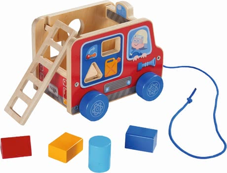 Haba Pulling Figure Fire Truck -  * Pulling figures are great companions for toddlers who are already able to take their first steps, because they encourage your child to move and promote the natural urge to move in a playful way.