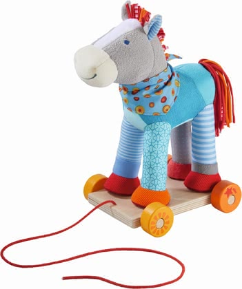 "Haba Horse Colour Joy -  * This lovingly designed horse is a pull-along toy and cuddly soft playmate at the same time. Horse ""Colour Joy"" encourages your child to crawl and make their first attempts at walking."