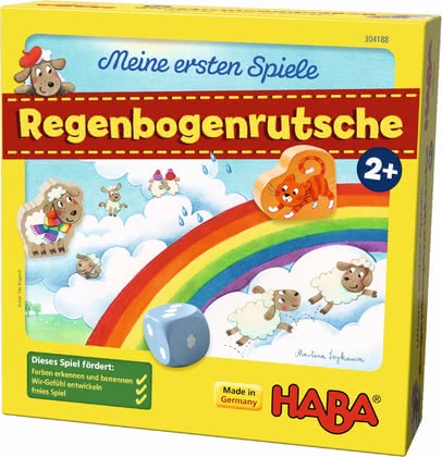 Haba My Very First Games – Rainbow Slide -  * The game Rainbow Slide offers two cooperative cloud games: colour assignment and matching game.